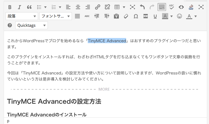 TinyMCE Advanced 設定6